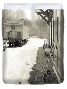 Old Caboose At Period Train Depot Winter Duvet Cover