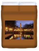 Old Canal And Dom Tower In Utrecht In The Evening 16 Duvet Cover