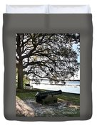 Old Cannon By The Sea Duvet Cover