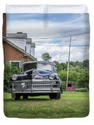 Old Car In Front Of House Duvet Cover