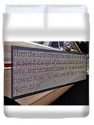 Old Car With Text Duvet Cover