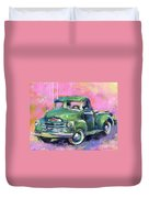 Old Chevy Chevrolet Pickup Truck On A Street Duvet Cover