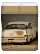 Old Cadillac In Sepia Tones Duvet Cover