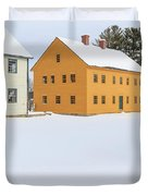 Old Colonial Wood Framed Houses In Winter Duvet Cover