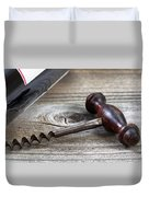 Old Corkscrew And Wine Bottle In Background On Rustic Wood Duvet Cover
