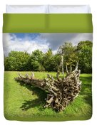 Old Cut Tree On A Meadow Duvet Cover