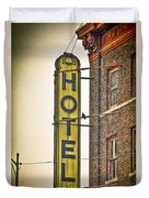 Old Detroit Hotel Sign Duvet Cover