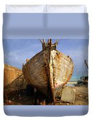 Old Dilapidated Wooden Boat  Duvet Cover