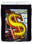 Old Dollar Sign Duvet Cover
