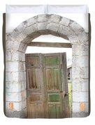 Old Door In A Brick Wall Duvet Cover