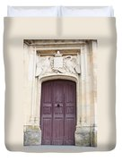 Old Door With Swan Relief Duvet Cover