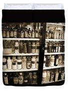 Old Drug Store Goods Duvet Cover