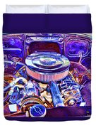 Old Engine Of American Car Duvet Cover