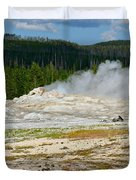 Old Faithful - An American Icon In Yellowstone National Park Wy Duvet Cover by Christine Till