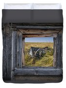 Old Farm Wagon Viewed Through A Barn Window Duvet Cover