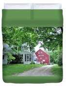 Old Farmhouse And Red Barn Duvet Cover