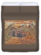 Old Farmhouse With Hay Stack In A Snow Capped Mountain Range With Tractor Tracks Gouged In The Soft  Duvet Cover