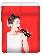 Old-fashion Pop Art Girl Drinking From Soda Bottle Duvet Cover
