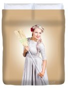 Old Fashion Woman Spring Cleaning With Broom Duvet Cover