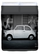 Old Fiat On The Streets Of Florence Duvet Cover