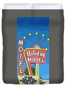 Old Fifties Vegas Hotel Sign Painting Duvet Cover