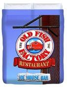 Old Fish Factory Restaurant Sign Duvet Cover