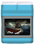 Old Fishing Boat In A Storm L B With Decorative Ornate Printed Frame. Duvet Cover