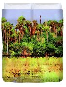 Old Florida Loop Palms Duvet Cover