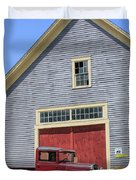 Old Ford Model A Pickup In Front Barn Duvet Cover