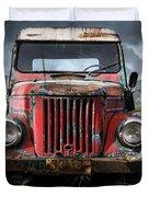 Old Forgotten Red Car Duvet Cover