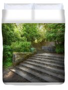 Old Garden With Stone Walls And Stair Steps Duvet Cover