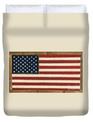 Old Glory Displayed On Wood Duvet Cover