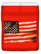 Old Glory Flag In Breeze Duvet Cover