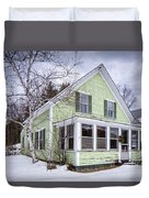 Old Green And White New Englander Home Duvet Cover