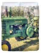 Old Green Vintage Tractor Watercolor Duvet Cover