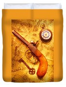 Old Gun On Old Map Duvet Cover by Garry Gay
