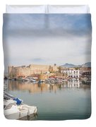 Old Harbour Of  Kyrenia, In Cyprus Duvet Cover