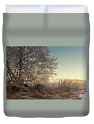 Old Harvester By The Birch Tree Duvet Cover