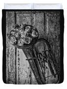 Old Horn And Roses On Door Black And White Duvet Cover