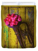 Old Horn And Roses On Door Duvet Cover