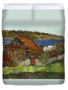 Old House By The River Duvet Cover