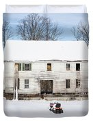Old House In The Snow Springfield New Hampshire Duvet Cover