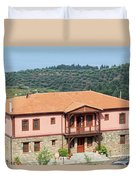 old house Sithonia Greece summer vacation scene Duvet Cover