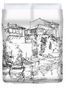 Old Houses And Boats Duvet Cover