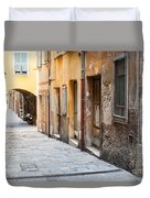 Old Houses On Narrow Street In Villefranche-sur-mer Duvet Cover