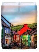 Old Irish Town The Dingle Peninsula At Sunset Duvet Cover