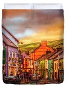 Old Irish Town The Dingle Peninsula Late Sunset Duvet Cover