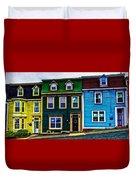 Old Jellybean Row Houses Duvet Cover