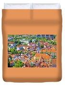 Old Ljubljana Cityscape Aerial View Duvet Cover