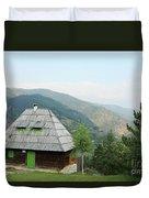 Old Log Cabin On Mountain Landscape Duvet Cover